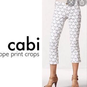 Cabi white jeans cropped ankle robe print 0